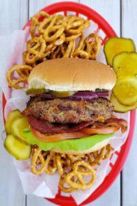 beer and pretzel burger 1