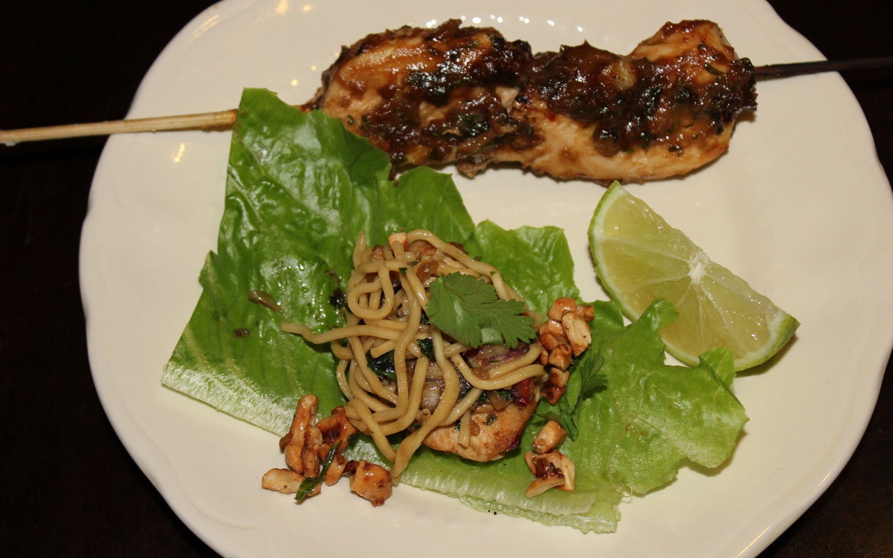 Chicken Skewers witih fiery noodle salad