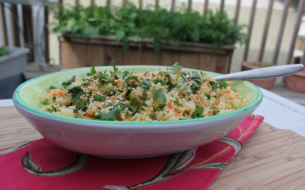 Couscous with carrots, green onion, cilantro