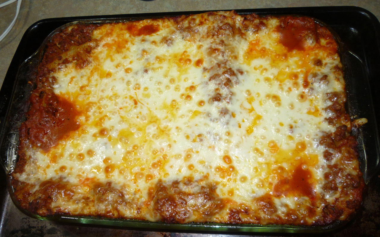 Lasagna resting and ready for eating.