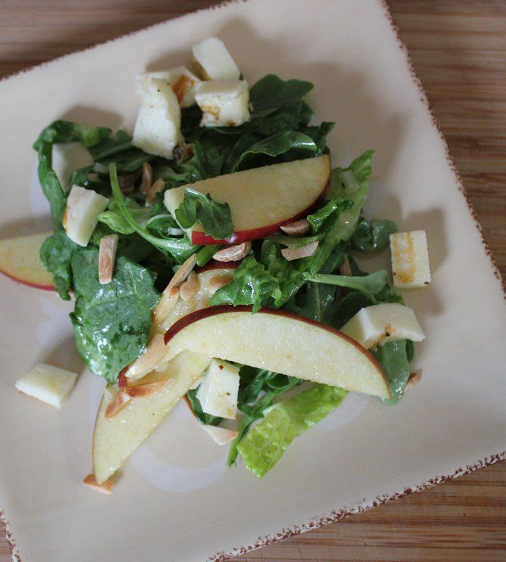 Apples & Halloom Salad with Apple Cider Vinaigrette