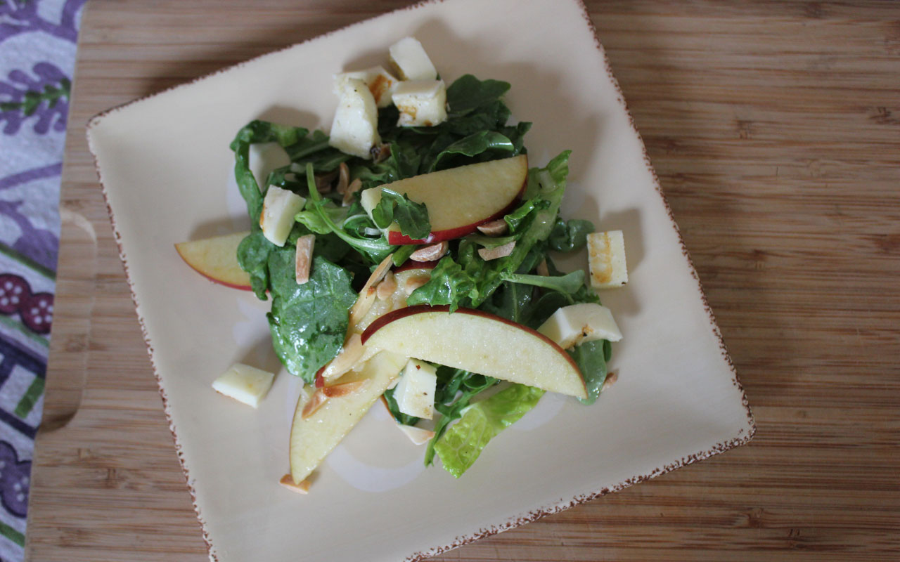 Apples & Halloom Salad with Apple Cider Vinaigrette