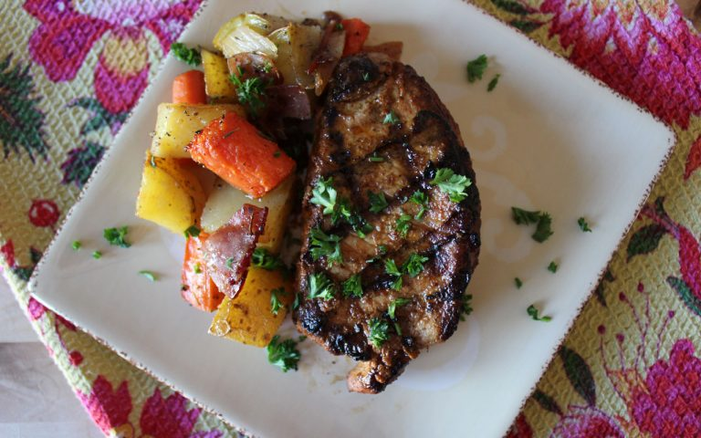 grilled pork chops with lemon & chili powder