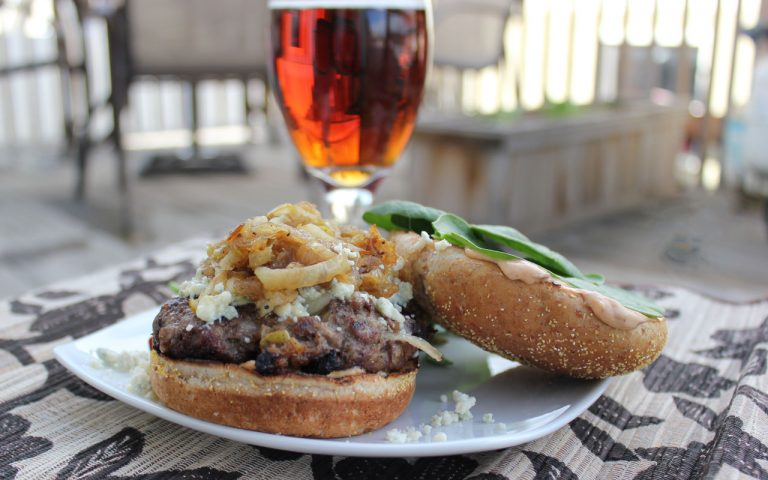 The Blue Cheese, Pear and Dark Ale Caramelized Onion Burger