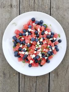 Watermelon, Blueberry, Fresh Mint and Feta Salad