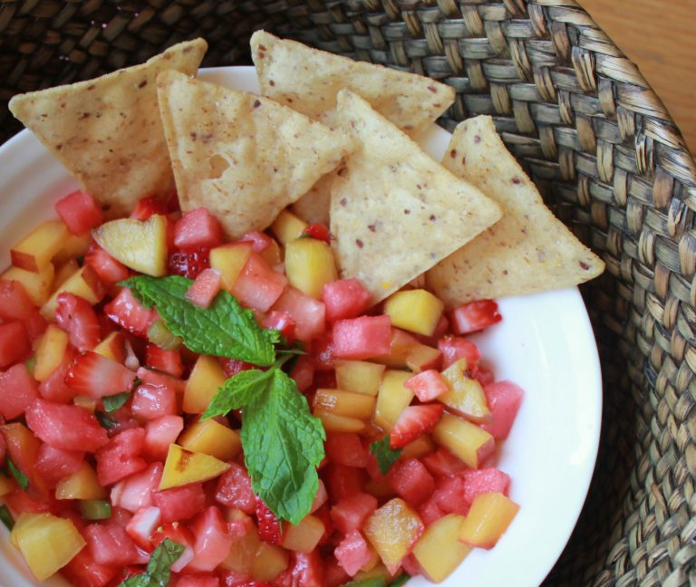 Grilled Peach, Strawberry & Watermelon Salsa