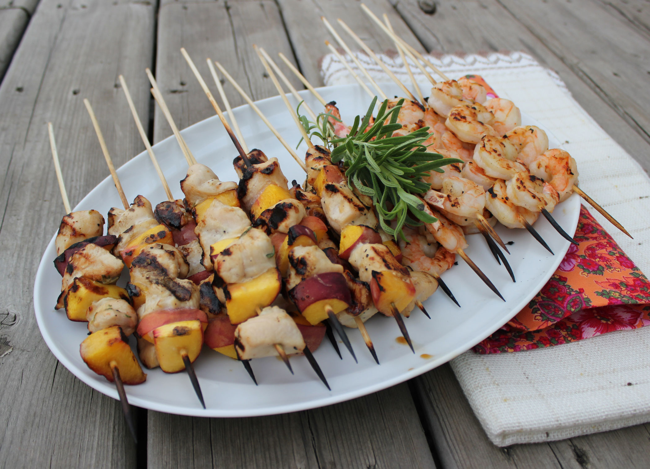 Garlic Mustard Glazed Chicken Kabobs with Peaches