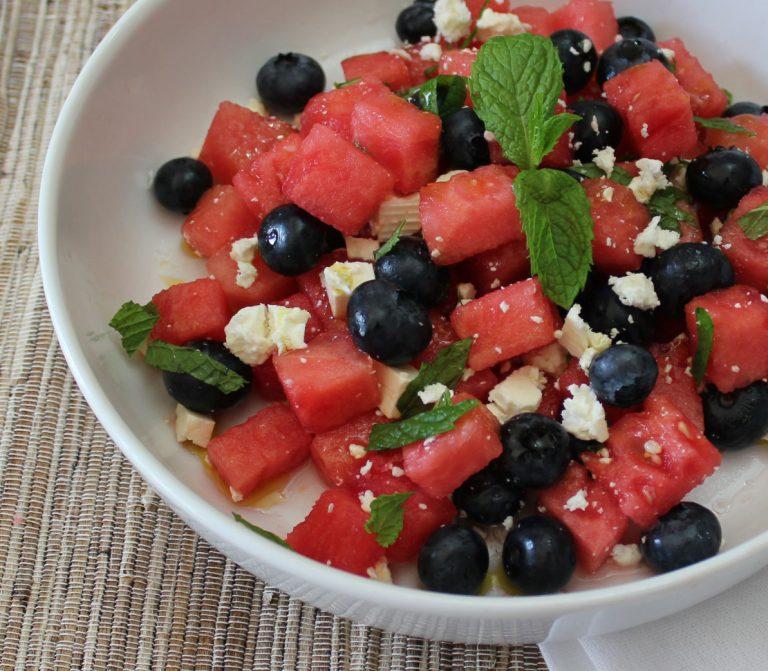 Watermelon, Blueberry, Mint and Feta Salad