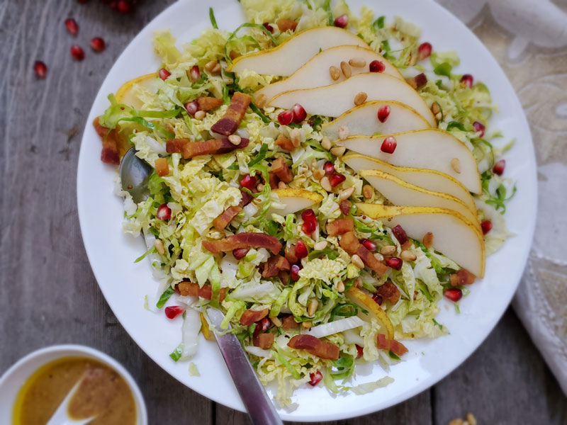 Winter Brussels Sprout Slaw with Pancetta