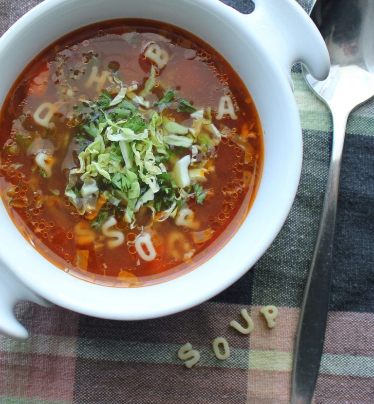 Shredded Brussels Sprout & Sausage Soup