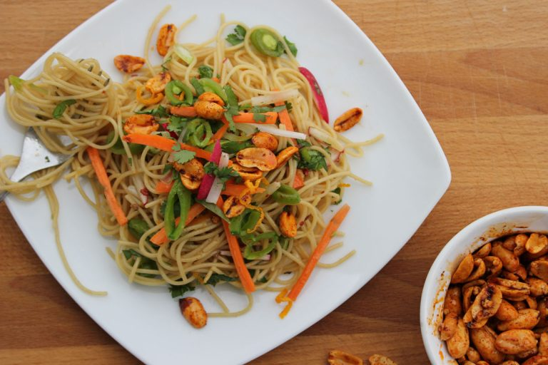 Asian Noodle Salad with Spicy Nuts