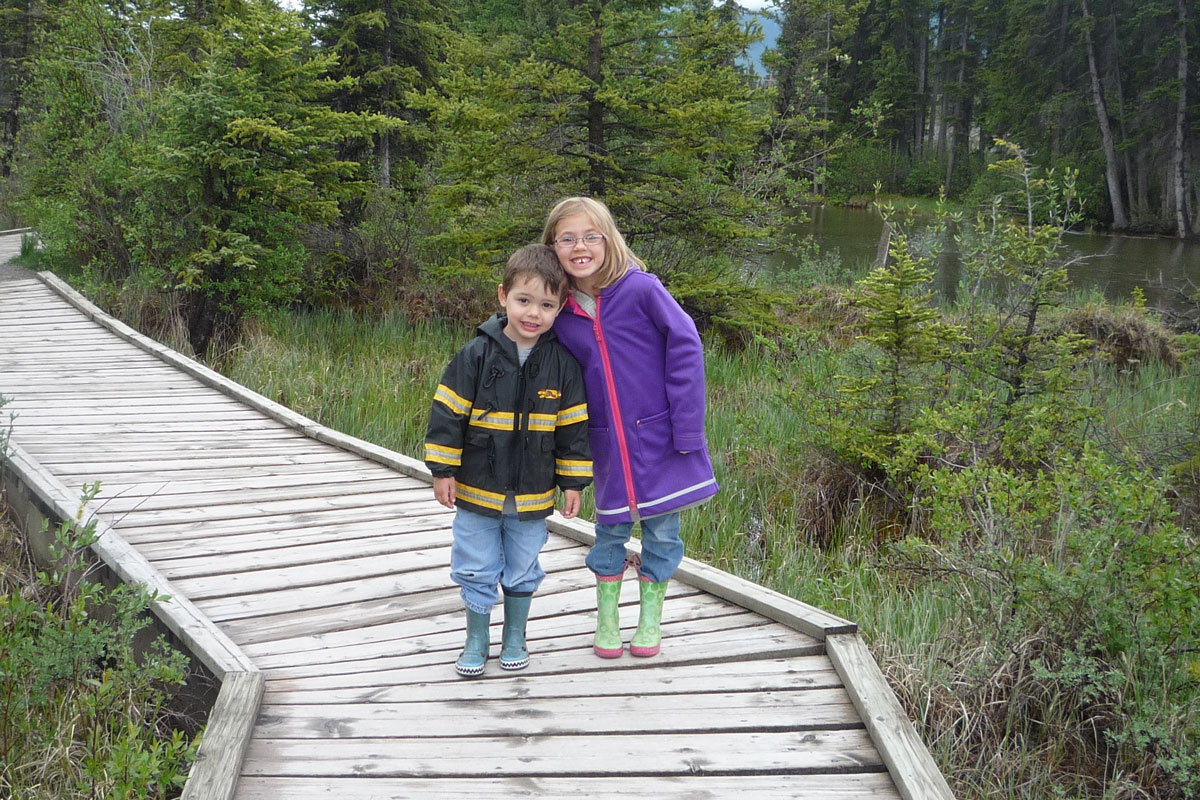Visiting the boardwalk in Canmore while camping in Bow Valley Campground