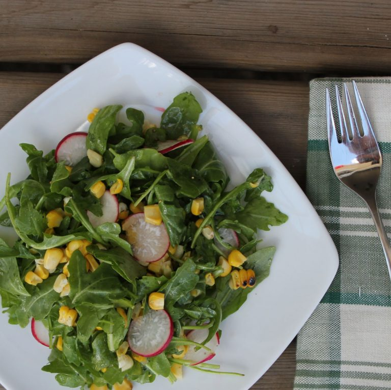 Grilled Corn, Radish & Arugula Salad