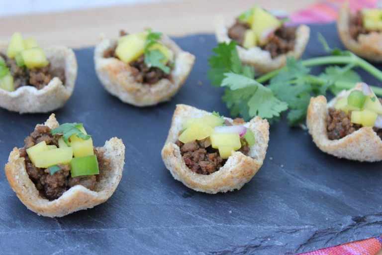 Thai Beef in Toast Cups with Mango Salsa