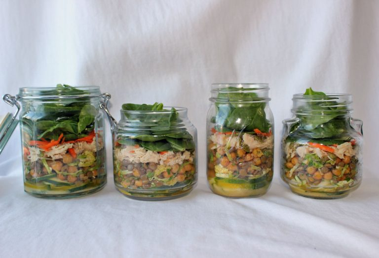 Salad in a Jar with Lentils, Chick Peas & Brussels Sprouts