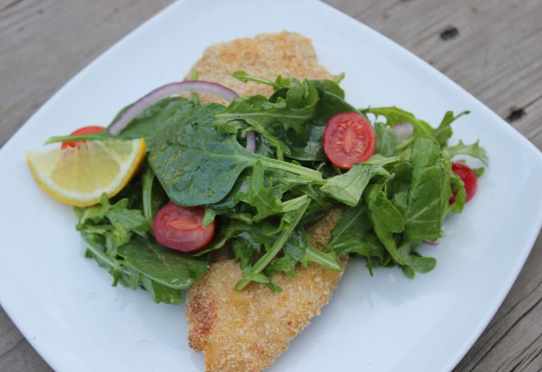 Chicken Milanese with Spinach & Arugula
