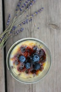 Creme Brulee is infused with fresh blueberries and lavender
