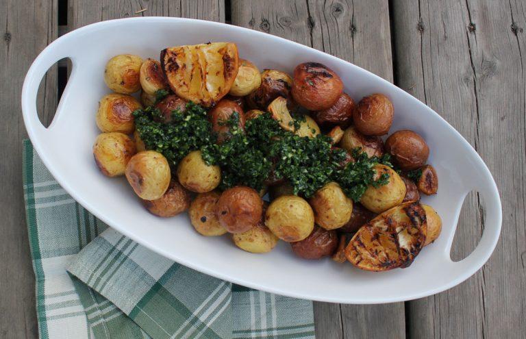 Lemon Roasted Potatoes with Parsley Pistou