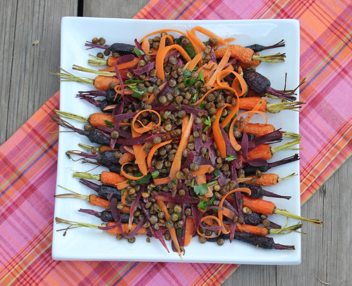 Roasted and Fresh Carrots with Crispy Lentils