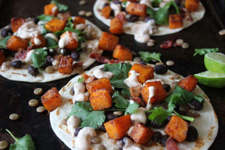 Lentil, Roasted Butternut Squash and Black Bean Tacos