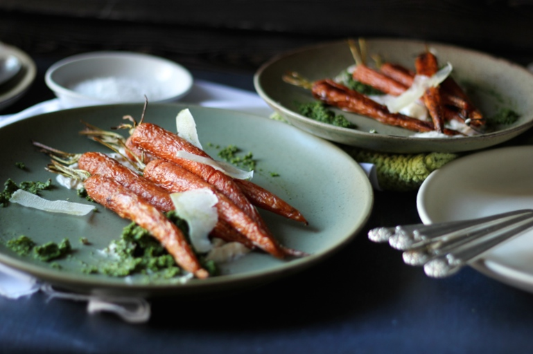 Sweet Roasted Carrots with Kale Pesto & Spiced Greek Yogurt
