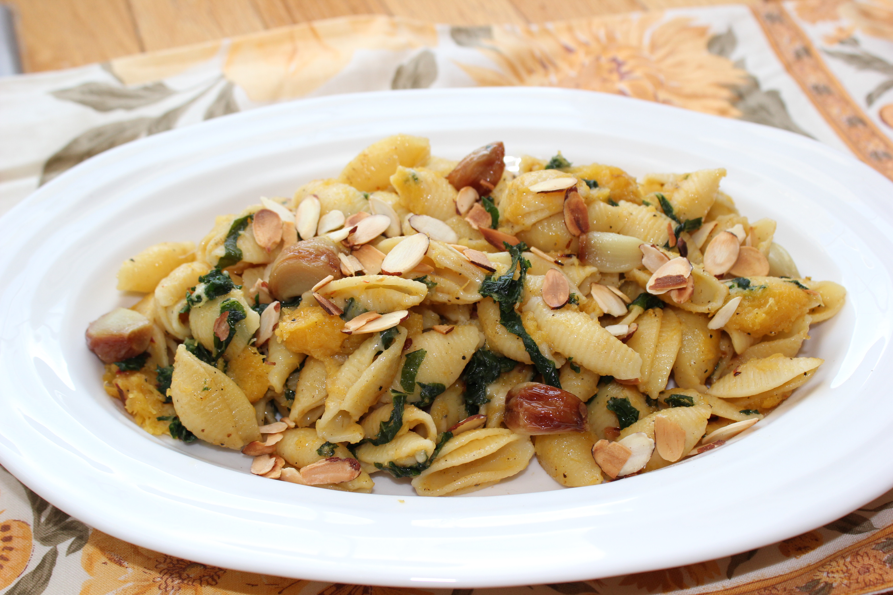 acorn squash roasted garlic kale pasta