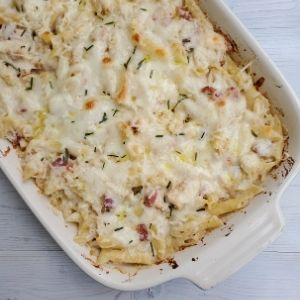 Baked chicken and pancetta penne