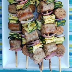 grilled sausage skewer