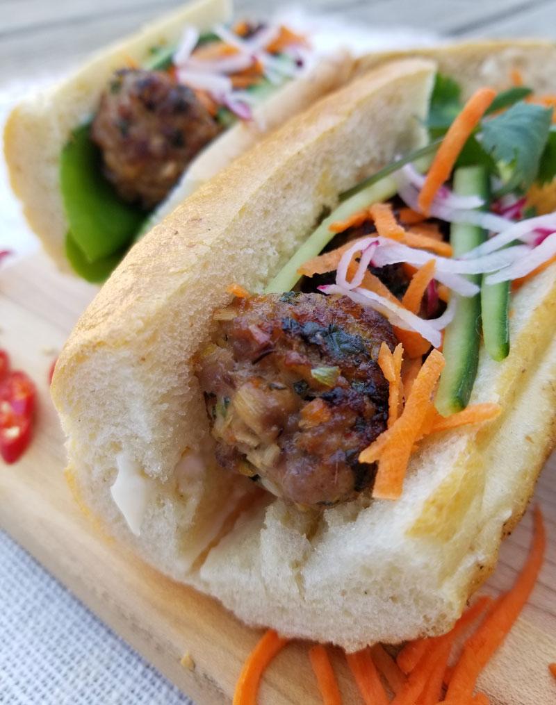 Cooked Vietnamese Pork Meatball Banh Mi