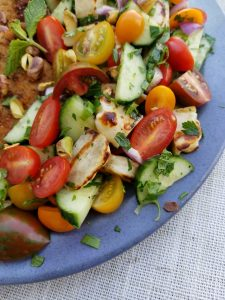 The Israeli Salad with Halloumi