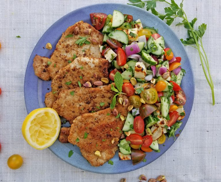 Pork Schnitzel with Israeli Salad