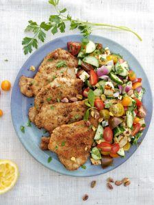 Pork Schnitzel with Israeli Salad & Halloumi