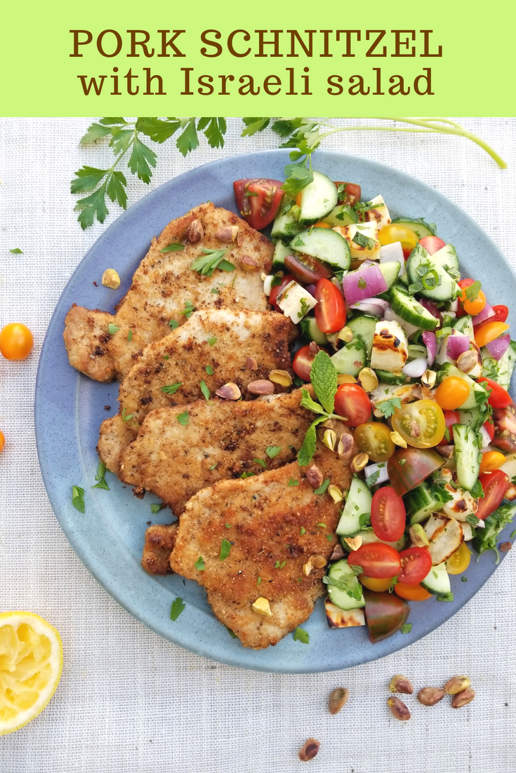 Pork Schnitzel with Israeli Salad & Halloumi #schnitzel #pork #porkschnitzel #israelisalad #sunterrafarms