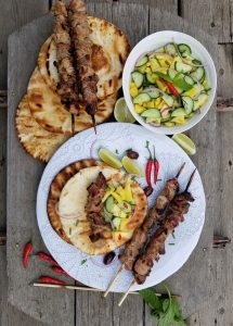 Pork Souvlaki with Cucumber Salsa
