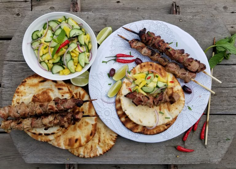 Pork Souvlaki with Cucumber Pineapple Salsa