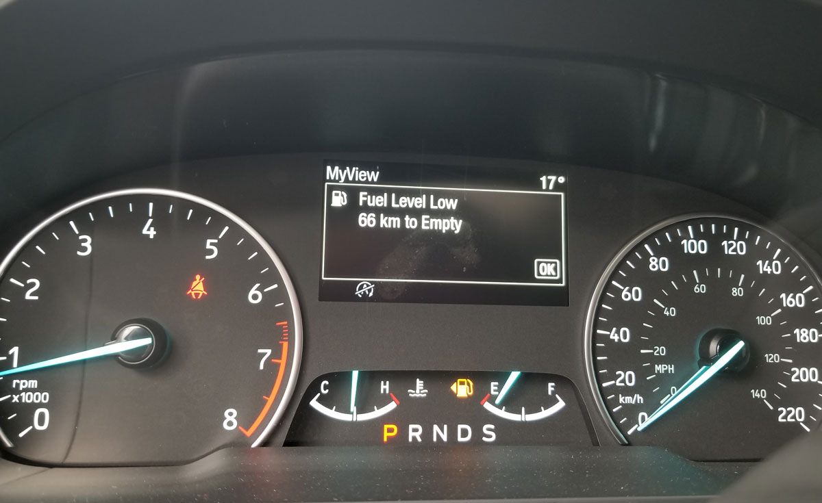 Ford EcoSport fuel low indicator
