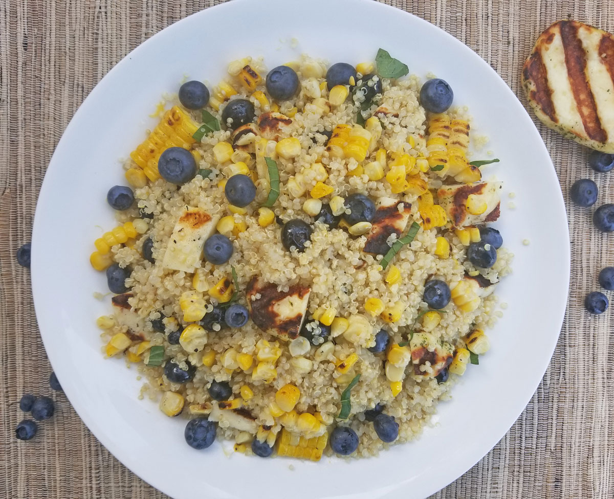 Blueberry Halloumi Quinoa Salad with Charred Corn