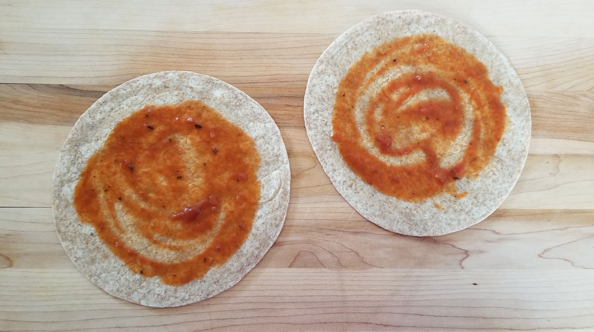 Add sauce to your pepperoni pizza wraps