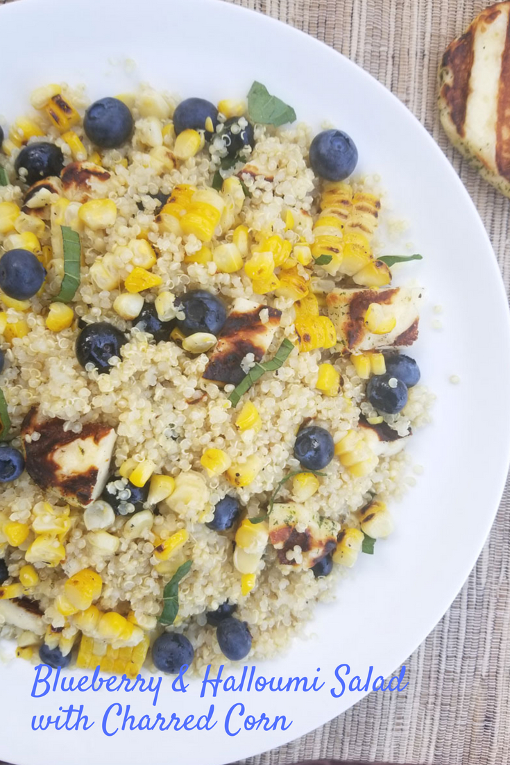 Blueberry & Halloumi Quinoa Salad with Charred Corn #grilledcorn #blueberries #blueberry #halloumi #halloom