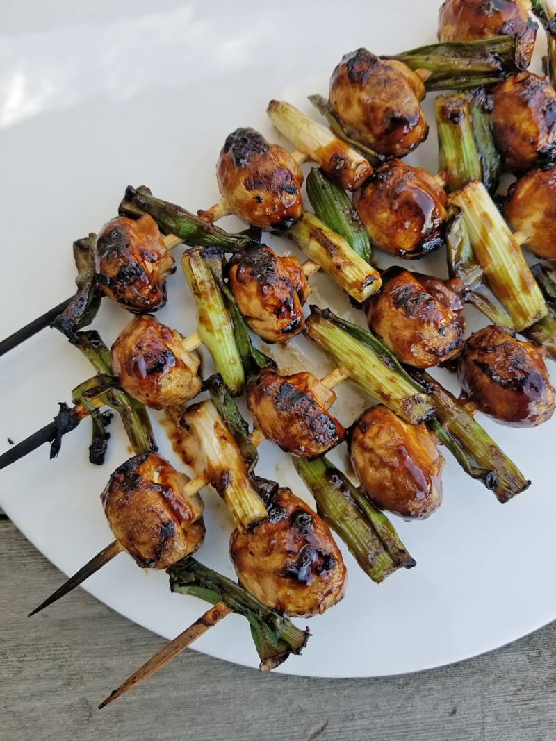 Grill Mushroom and Green Onion Kabobs