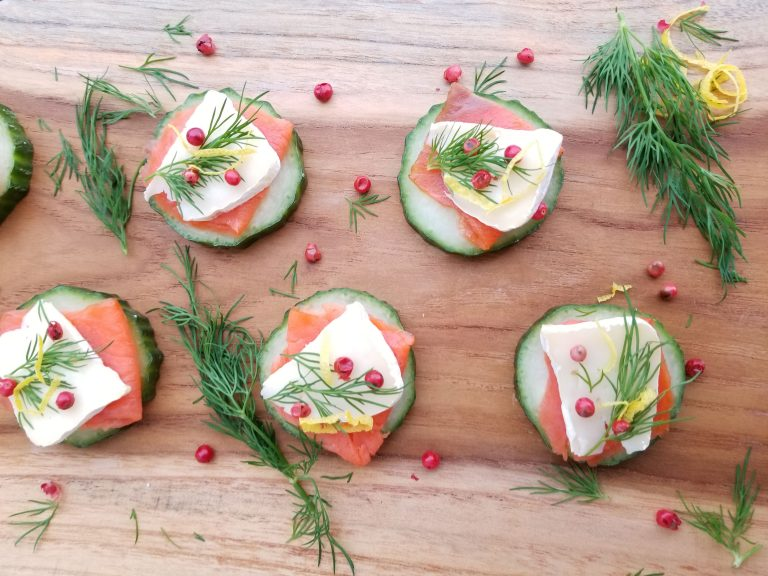 Smoked Salmon on Cucumber Rounds