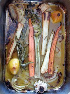 Roast vegetable rack ready for gravy