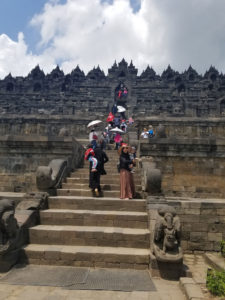 Beginning the decent up Borobudur