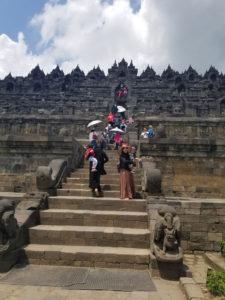 Beginning the decent up Borobudur