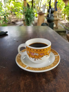Luwak coffee steaming hot, freshly brewed