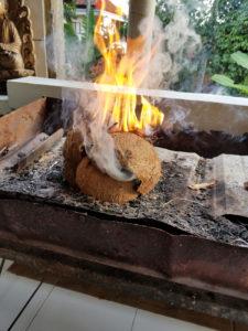 Coconut husk fire starters