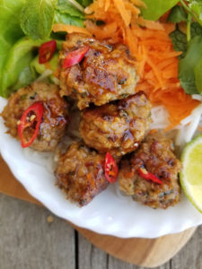 Thai Chicken Meatballs with glaze