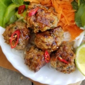 sticky thai chicken meatballs