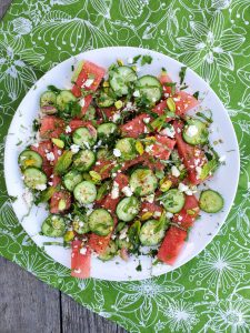 This version of our Watermelon Herb Cucumber Salad has no cherries