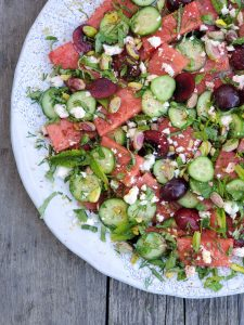 Lost of great flavours in our Watermelon, Herb and Cucumber Salad